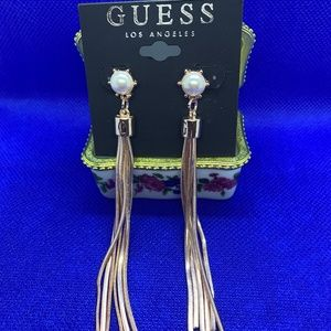 Guess Rose-Gold Tone Logo Pearl Linear Earrings